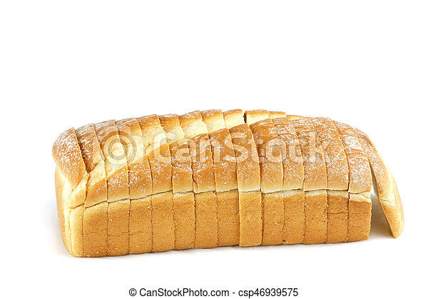 sliced bread on white background - csp46939575