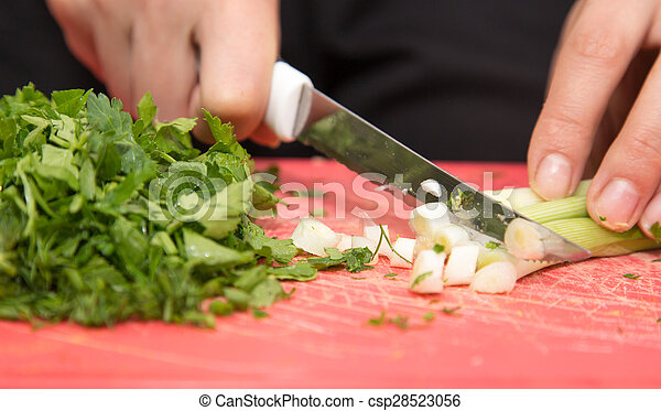 sliced green onions with a knife - csp28523056