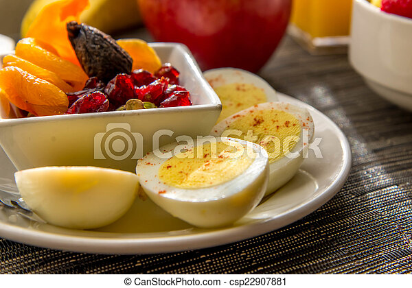 Sliced Hard Boiled Eggs And Fruit Nutricious Breakfast