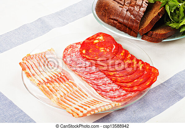 Sliced meat on plate - csp13588942