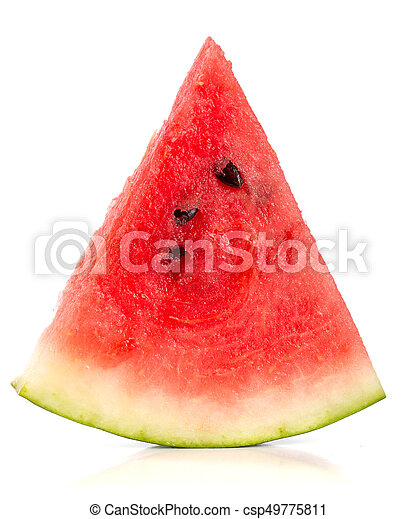 Sliced of watermelon isolated on white background - csp49775811