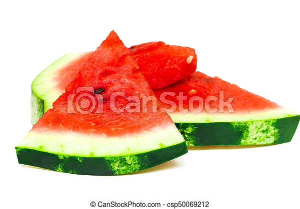 Sliced of watermelon isolated on white background - csp50069212