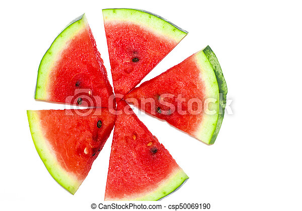 Sliced of watermelon isolated on white background - csp50069190