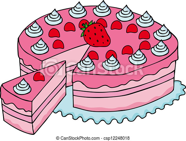 Sliced pink cake vector illustration vector clip art Search