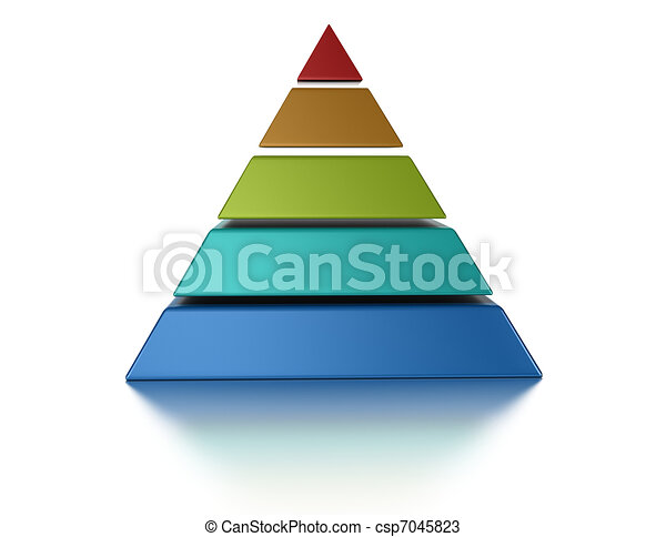 sliced pyramic, 5 levels isolated over a white background - csp7045823