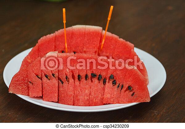 Sliced ripe watermelon fresh fruit - csp34230209