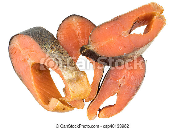 Slices Of Cold Smoked Pink Salmon Or Humpback Salmon Isolated On White Background, Close Up - csp40133982
