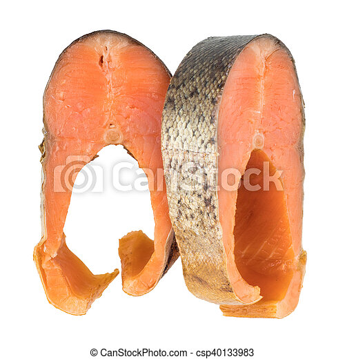 Slices Of Cold Smoked Pink Salmon Or Humpback Salmon Isolated On White Background - csp40133983