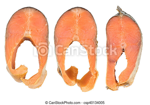 Slices Of Cold Smoked Pink Salmon Or Humpback Salmon Isolated On White Background - csp40134005
