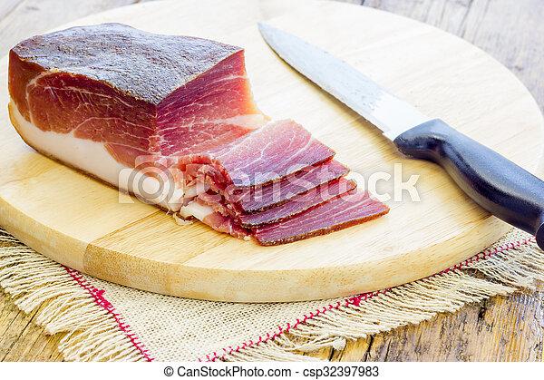 Slices of Italian Speck - csp32397983
