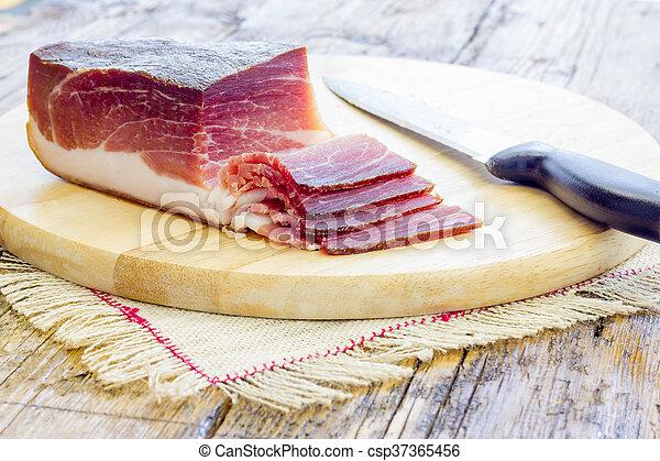 Slices of Italian Speck - csp37365456