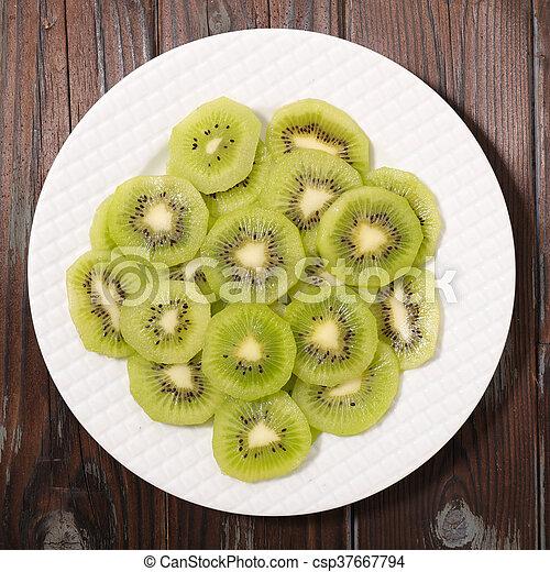 slices of kiwi for breakfast - csp37667794
