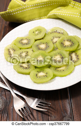 slices of kiwi for breakfast - csp37667799