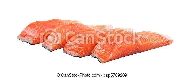 Slices of salmon, isolated on a white background. - csp5769209