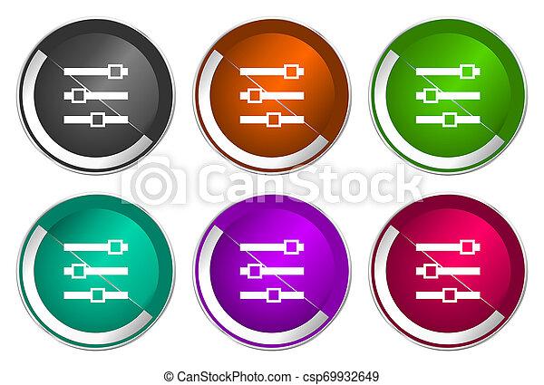 Slider icon set, silver metallic web buttons - csp69932649