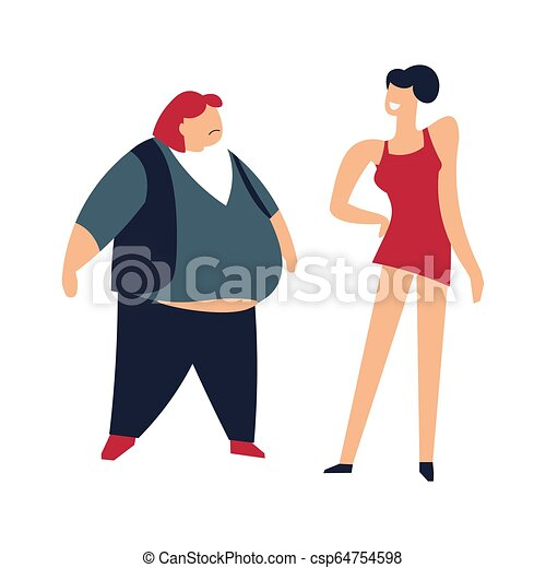 Slim and fat women thin lady humiliating person
