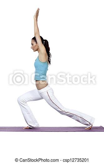 slim lady practicing yoga - csp12735201