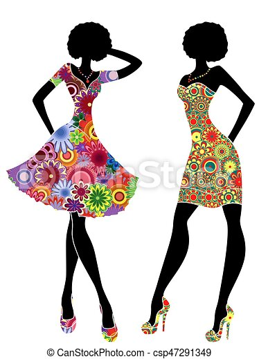 Slim stylish women in short ornate colourful dresses - csp47291349