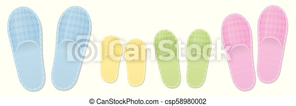 Slippers Family Set Mother Father Children - csp58980002