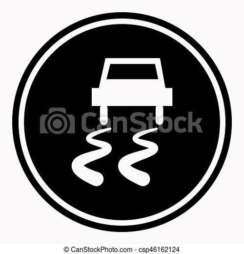 Slippery road warning sign car icy track vector isolated icon - csp46162124