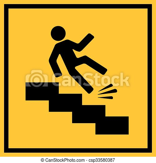 Slippery stairs warning sign - csp33580387