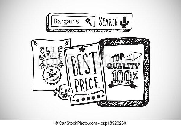 složený, doodles, podoba, prodávat v malém, prodej - csp18320260