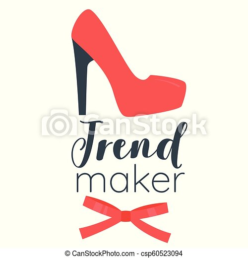 Vector Cartoon Style Illustration Of Red Woman High Heel Shoe Trend