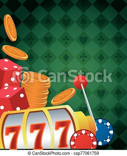 slot machine dices and chips betting game gambling casino - csp77061759