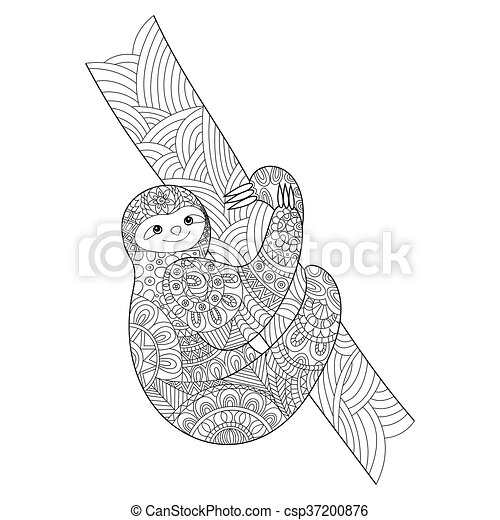 Sloth coloring book for adults vector - csp37200876