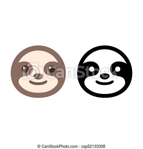 Sloth face icon cute cartoon sloth icon in color and for Sloth mask template