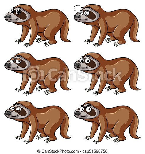 Sloth with different emotions - csp51598758