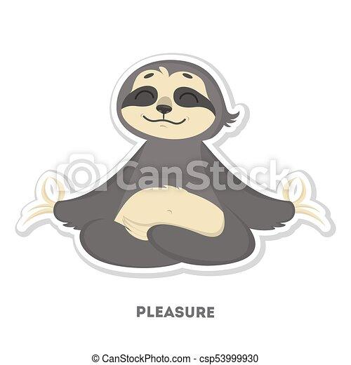 Sloth with pleasure sticker. - csp53999930