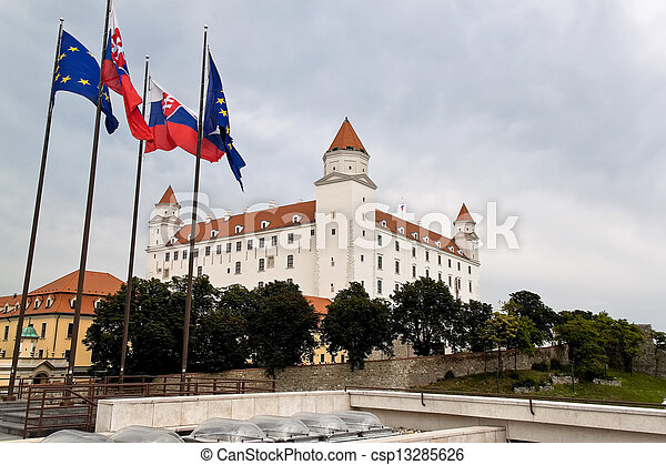 slovakia, bratislava: castle hill with castle - csp13285626