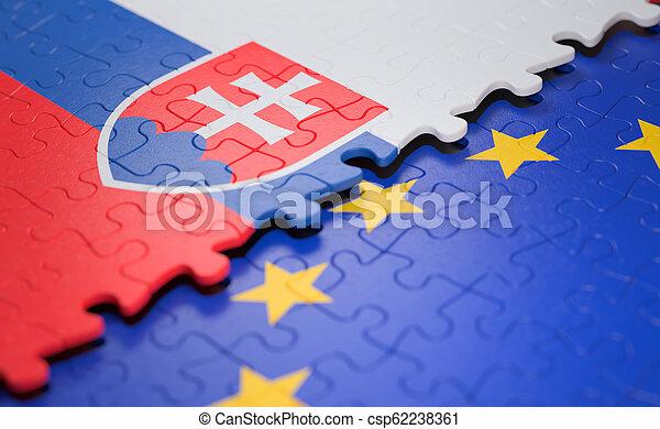 2156051283 Slovakia european union puzzle flag. Flag of the slovakia and the ...