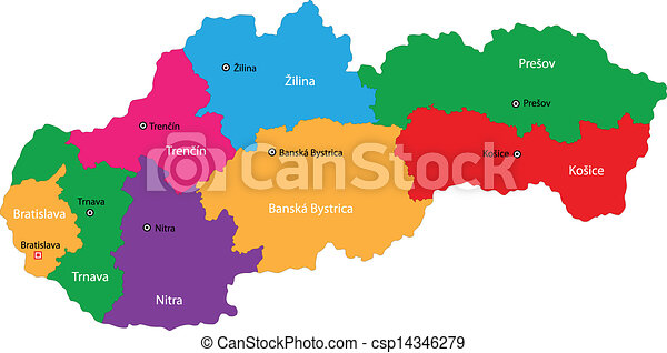 Slovakia map. Administrative division of the slovak republic.