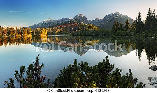 Slovakia Mountain Lake in Tatra - Strbske Pleso - csp16139263