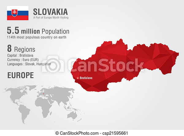 36c4821380 Slovakia world map with a pixel diamond texture. world geography.