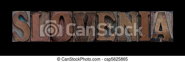 Slovenia in old wood type - csp5625865