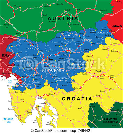 Slovenia map highly detailed vector map of slovenia with vector