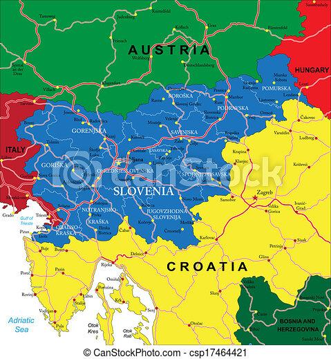 slovenien karta Slovenia map.