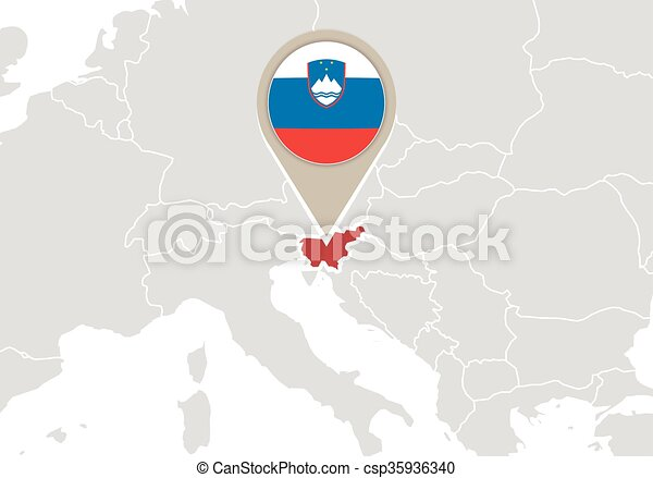 Slovenia on europe map. Europe with highlighted slovenia map and flag.