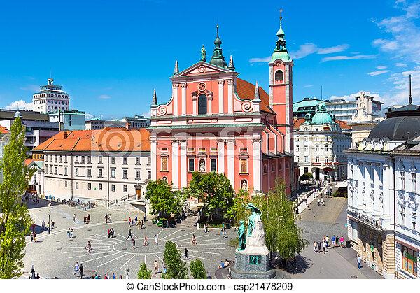 slovenia., preseren, 広場, ljubljana, 資本 - csp21478209
