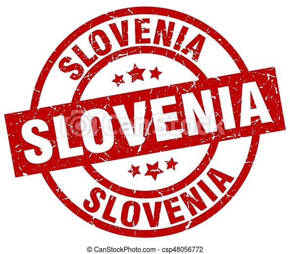 Slovenia red round grunge stamp - csp48056772