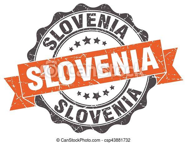 Slovenia round ribbon seal - csp43881732