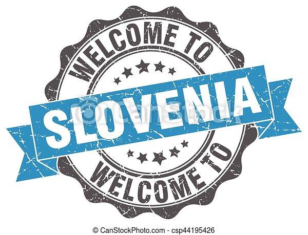 Slovenia round ribbon seal - csp44195426