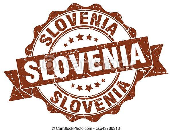 Slovenia round ribbon seal - csp43788318