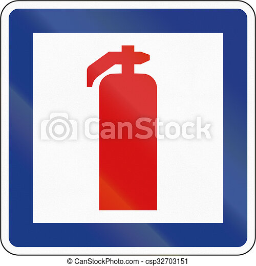 Slovenian Service Road Sign Fire Extinguisher Stock Illustrations
