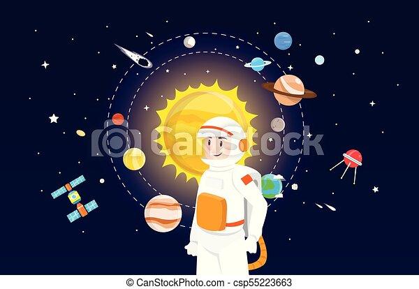 sluneční, astronaut, design, systém, ilustrace - csp55223663