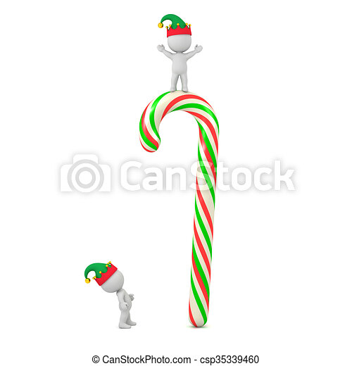 913d54a5a0473 Small 3D Character with Elf Hat Looking Up at Very Large Colorful Candy Cane  - csp35339460