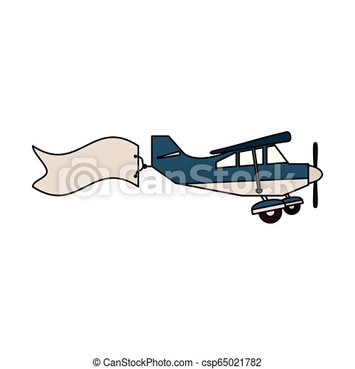 Small Airplane With Banner Sideview Vector Illustration Graphic